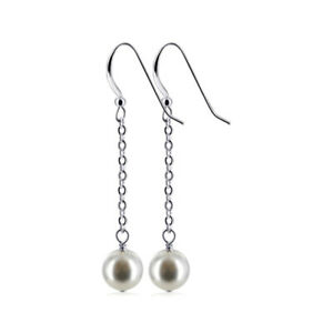 925 Silver Simulated Pearl Dangle Earrings Made with Swarovski Elements