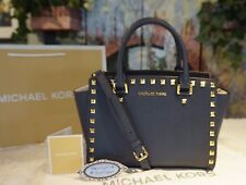 NWT Michael Kors SELMA STUD MED Satchel Crossbody NAVY Saffiano Leather Bag $328