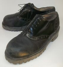 Robert Wayne Wos Shoes Oxfords US9.5 Black Leather Lace-Up Platforms rockabilly
