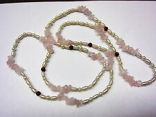 "30"" inch Beautiful Pink Rose Quartz Beads Pearl Necklace #112815"