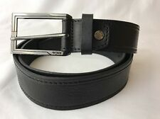Tumi Black Leather Dress Belt Golf Casual Pebbled Silver Logo Buckle 44 Large XL