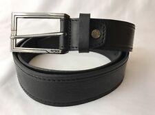 Tumi Black Leather Dress Belt Gunmetal Silver Logo Buckle Golf Casual Pebbled 44