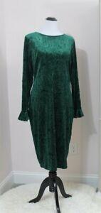 ALEXIA ADMOR Sz XL Emerald Green Velvet Paisley Long Sleeve Dress NWT