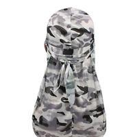 Silky Camo Durag Hat Long Tail Men Women Stitching Camouflage Do Doo Du Rag Cap