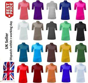 Women Polo Roll Turtle Neck SHORT SLEEVE Plain Stretch Ladies Jumper Top 8-24 UK