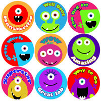 144 Monster Faces Praise Words 30mm Kid's Reward Stickers for Teacher, Parent