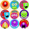 144 Monster Faces Praise Words 30mm Kid's Reward Stickers for Teacher, Parent