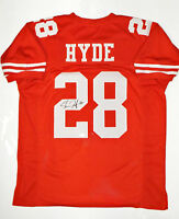 Carlos Hyde Autographed Red Pro Style Jersey- JSA W Auth *2