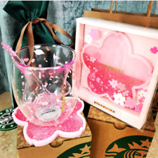Starbucks Lovely Cat's Claw 6oz Sakura Cup Glass w/ Pink Sakura Coaster & Stick