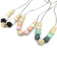 Hexagon Silicone Wood Beads Baby Teething Chewable Teether Jewelry Mom Necklace