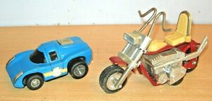 Vintage TONKA x2 - CAR & MOTORBIKE - playworn condition
