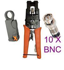 Universal Coax Connector Compression Crimp tool 10x BNC RCA F RG59 RG6 Stripper