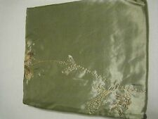 Layla Shimmery Sage Green Embroidered Gold Floral Fabric Shower Curtain NEW