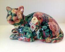 Large Colorful Cat Ceramic Figurine ~ Multi Color Floral Kitty Cat