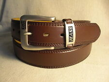 Jeans Men's Brown Genuine Leather Belt Size 36