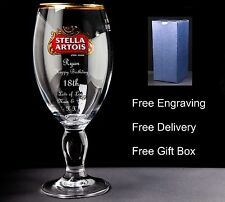 Personalised Stella Pint Glass Birthday Gift 18th,21st 30th 40th 50th 60th 70th