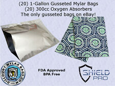 (20) 5.25 Mil1-Gallon Gusseted Stand-Up Mylar Bags + (20) 300cc Oxygen Absorbers