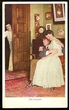 1907 Romantic Spooning Couple CAUGHT BY PEEPING MOM Ten O'Clock PHOTO POSTCARD