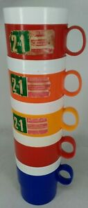 DECOR 5 vintage stacking mugs insulated removable liner plastic picnic retro