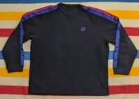 VTG 2000s Nike Nylon Taped Mini Swoosh Logo Black Pullover Fleece Sweater XXL