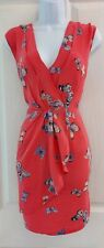 Womens Oasis tee Dress 100%silk size 10 red butterfly  summer casual vgc