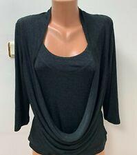 JOSEPH RIBKOFF size UK 10 Blouse Top Grey Tunic Drape 3/4 Sleeve