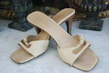 GUCCI MADE IN ITALY TAN BEIGE LEATHER MID HEEL WOMEN'S SANDALS SHOES SIZE 37 C
