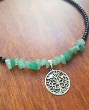 Tree of Life Sun Moon Choker Aventurine Onyx Necklace Sterling Silver 925