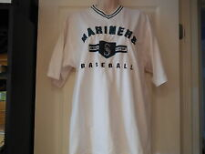 Seattle Mariners Embroidered T-Shirt, Lee Sport White Mens Size M Medium AL VG