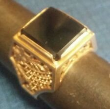 Mid Century Russian Men's 14K Rose Gold set Dark Smokey Topaz Solitaire Ring