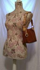 Vintage Dooney & Bourke Brown Beige 2-tone Leather Hobo Shoulder Bag Purse