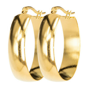 Ovale Breite Creolen Edelstahl Gold 35mm 21mm 10mm Ohrring Modeschmuck Fashion