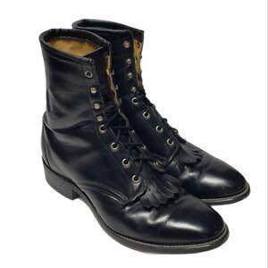Vintage Laredo Black Leather Roper Kiltie Lace-Up Boots Men Sz: 10 1/2 EE