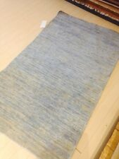Modern Spectacular Wool Hand Made 3x5 Blue Solid Texture New Area Rug Stone Wash