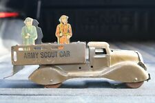 Marx Military Army Scout Car Truck w/soldiers - Pressed Steel - USA - 1940s