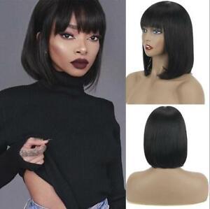 Straight Human Hair Wigs With Bang Short Bob Wigs Peruvian Remy Hair Full Wigs