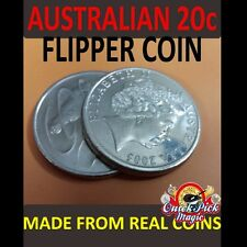 MAGIC FLIPPER COIN AUSTRALIAN 20 CENT / MADE WITH EXPANDED SHELL -AUD COIN MAGIC