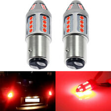 Pair 1157 LED Red Flash Strobe Blinking Rear Alert Safety Brake Tail Stop Lights