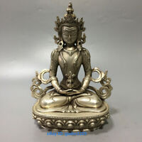 candle stick chinese Old tibet silver buddha hand handwork rare big Statue