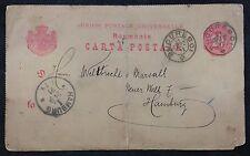Romania 1891 Cover Postal Stationery Postcard 10b Red Bucharest to Hamburg