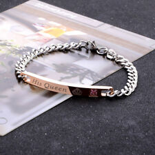 "His And Her ""Her King His Queen"" Titanium Stainless Steel Couple Lovers Bracelet"