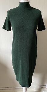 M&S Collection Dark Green High Neck Short Sleeved Midi Dress Size 12