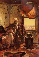 Oil painting rudolf ernst - Old arab people smoking the hookah in the interior