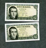LOTE 2   BILLETES correlativos  5 pesetas 1951  SC   pareja  los 2 de la foto