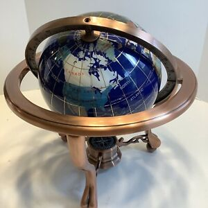 """10"""" Tall Blue Lapis Table Top Gemstone World Globe with Antiqued Brass Stand Exc"""