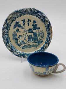 Vintage Ohio Art Tin Litho Tea Set Toy Oriental Blue White