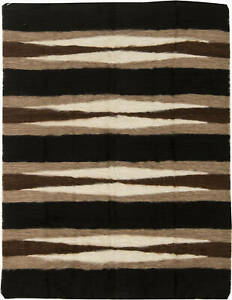 Striped Dark Chocolate and White Taurus Collection Goat Hair Rug N11453