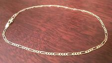 "14K Solid Yellow Gold Figaro Link Chain Bracelet / Anklet 10"" 2mm 1.8 grams"