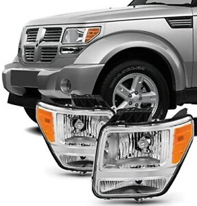 For 2007-2011 Dodge Nitro Chrome Housing HeadLights HeadLamps Right+Left set