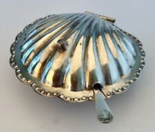 Antique Cheltenham Silverplate Scallop Butter Dish w/ Glass Insert & Spoon